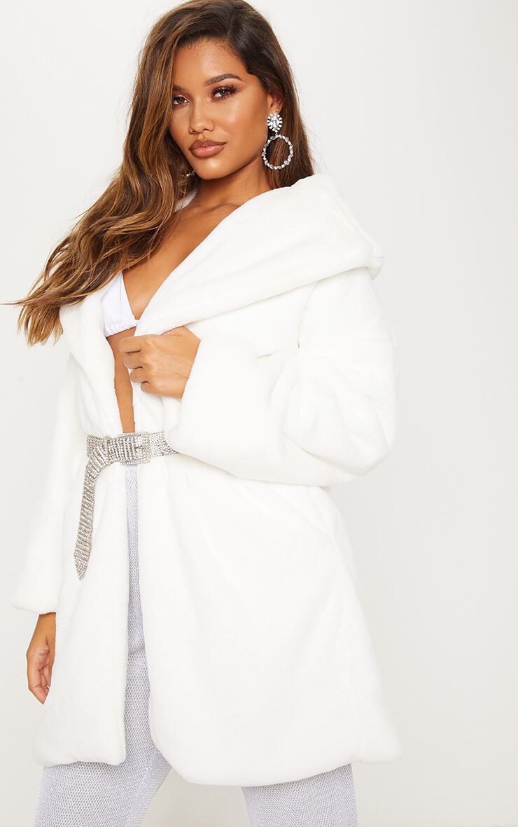 Cream Midi Faux Fur Collar Coat