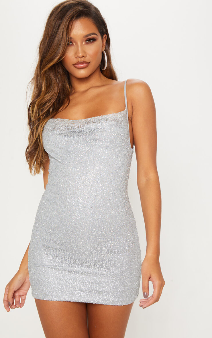 Silver Glitter Strappy Cowl Neck Bodycon Dress