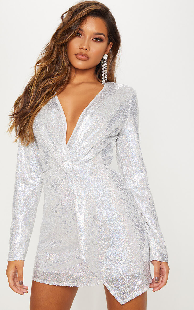 Silver Sequin Twist Front Bodycon Dress