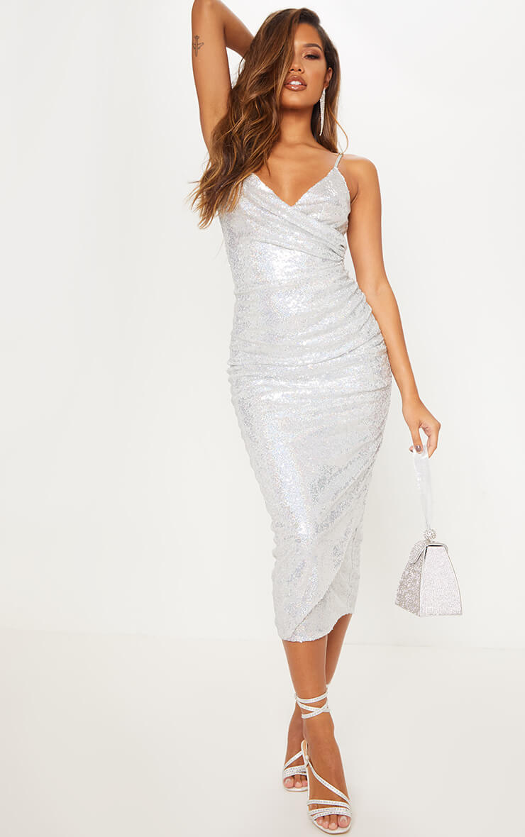 Silver Sequin Wrap Over Midaxi Dress