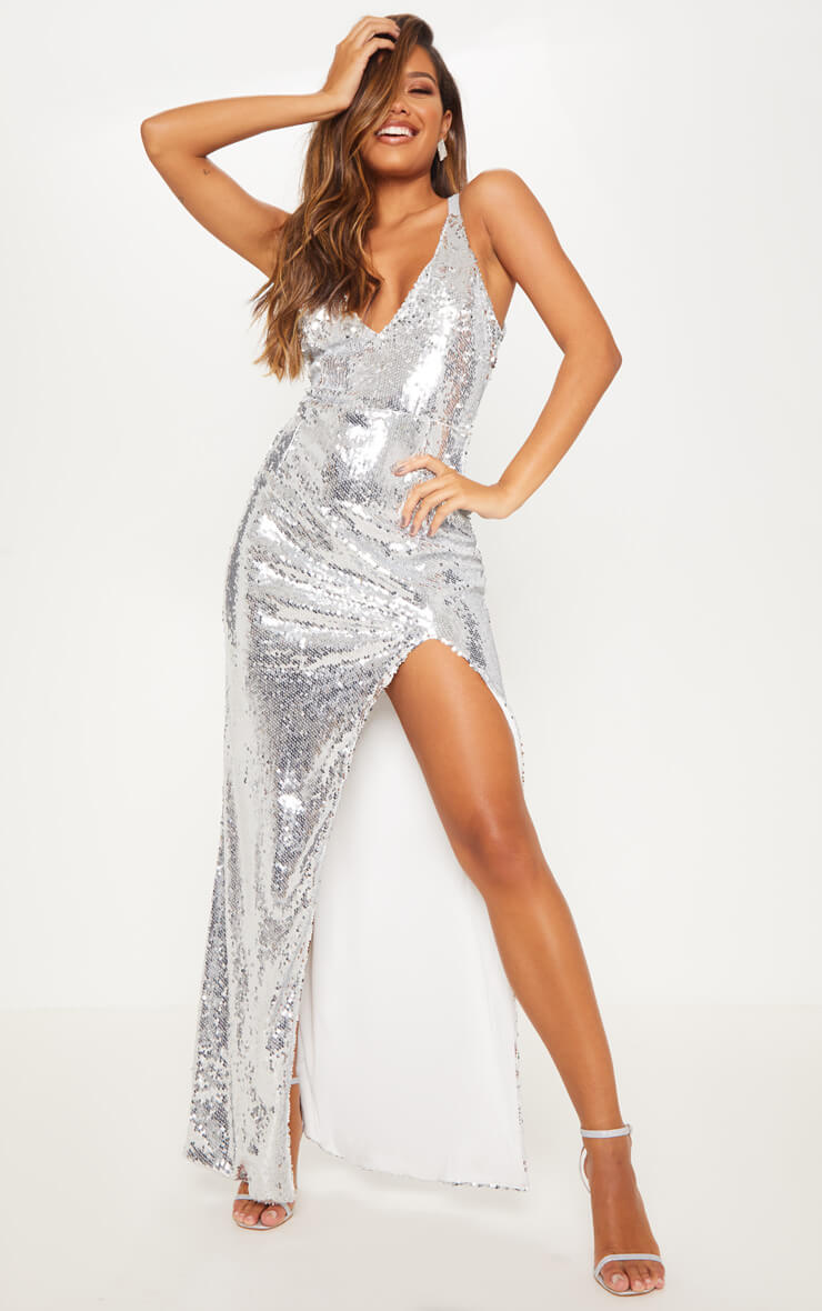 Silver Sequin Strappy Back Maxi Dress