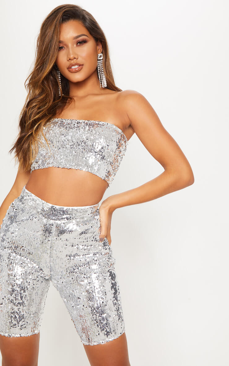 Silver Sequin Cycle Shorts