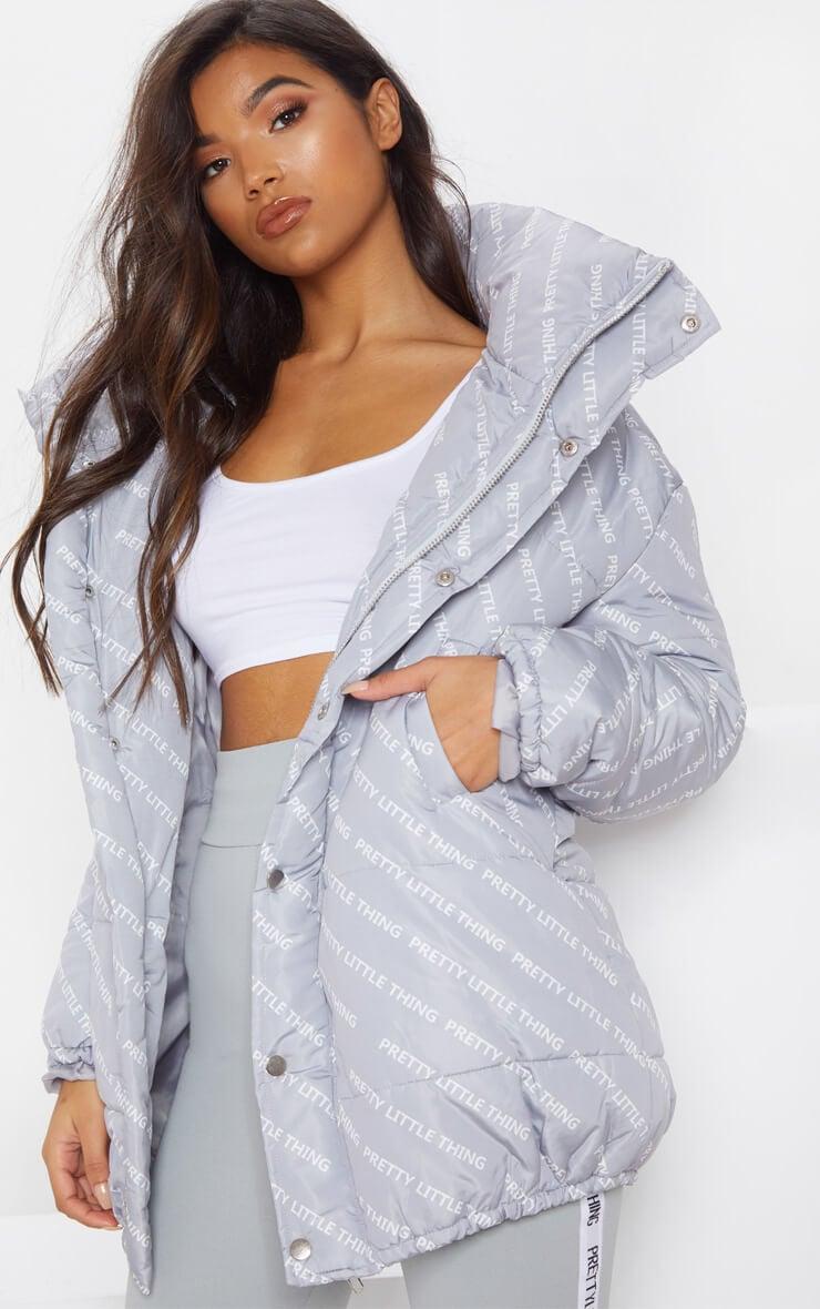 PRETTYLITTLETHING Grey Print Puffer Jacket
