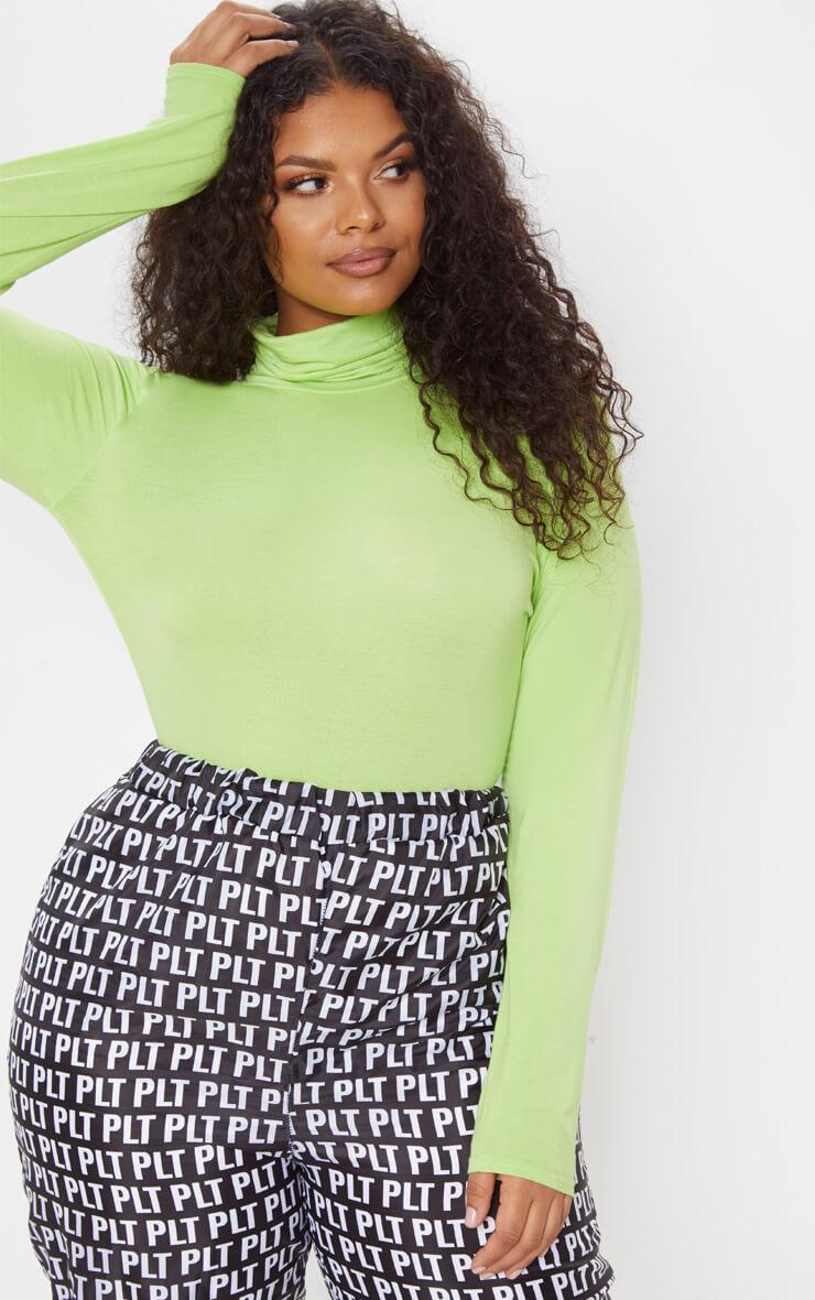 Plus Neon Lime Basic Roll Neck Long Sleeve Bodysuit