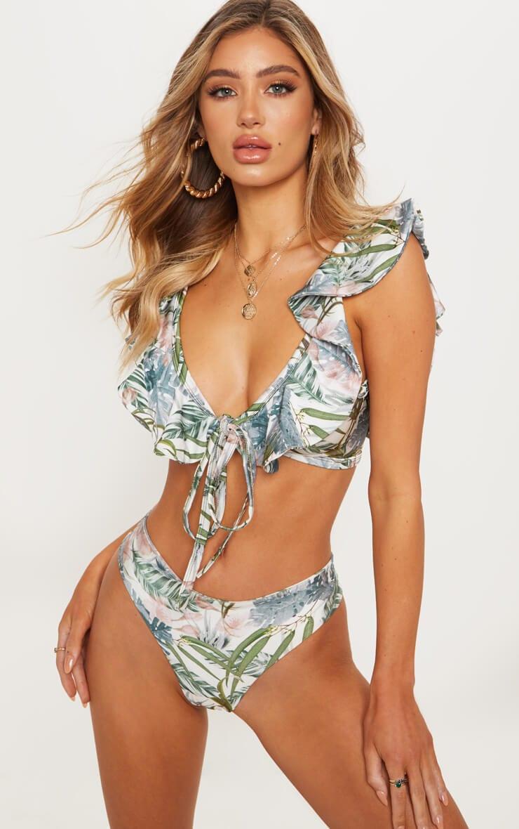Pale Khaki Leafy Cheeky Bum Bikini Bottom
