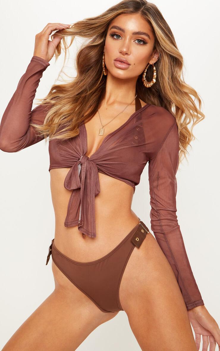 Chocolate Tie Front Beach Shirt