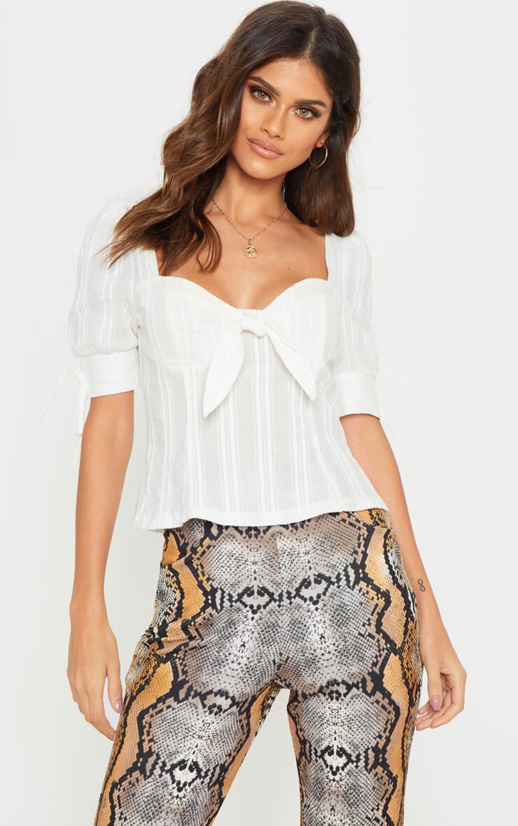 WHITE CROCHET CUP DETAIL SHORT SLEEVE TOP