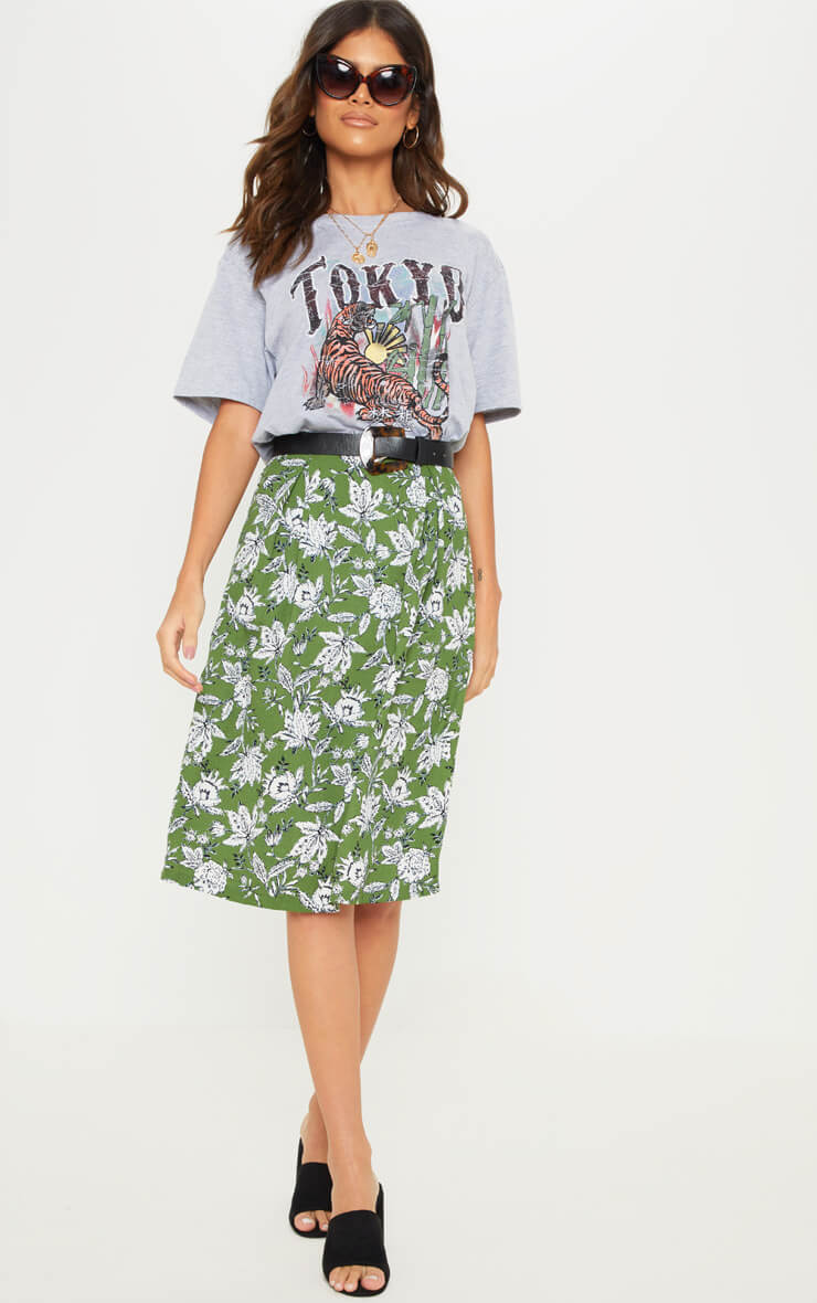 GREEN FLORAL PRINTED PLEAT FRONT MIDI SKIRT
