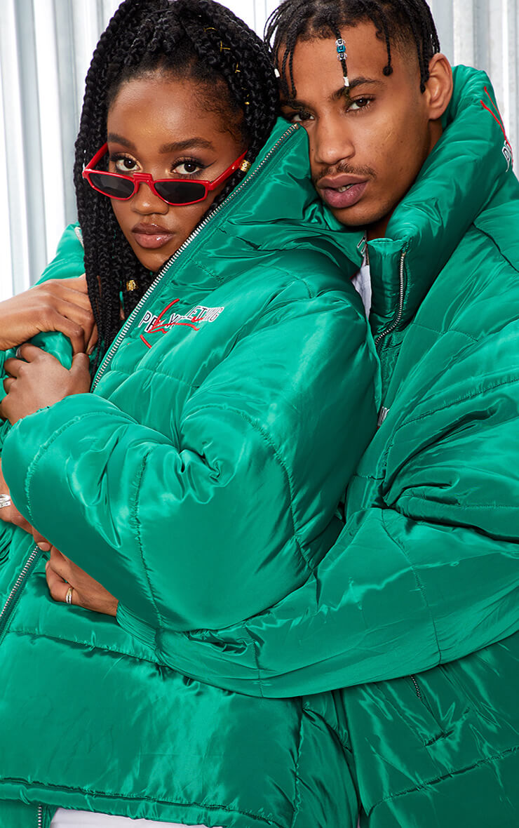 KARL KANI Green Embroidered Puffa Jacket
