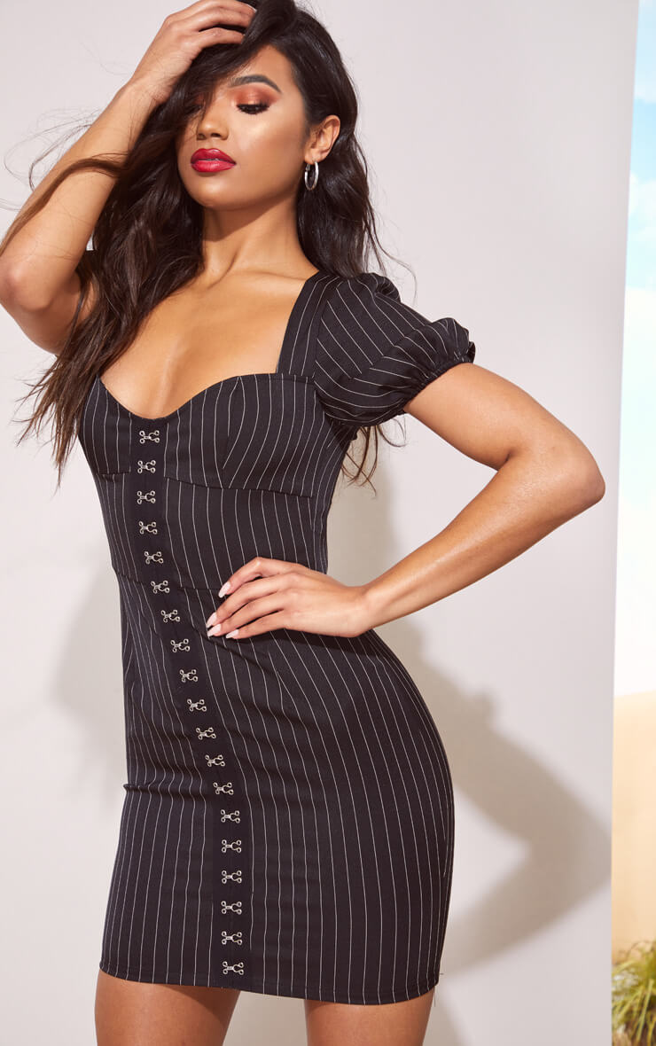 BLACK PIN STRIPE PUFF SLEEVE BODYCON DRESS