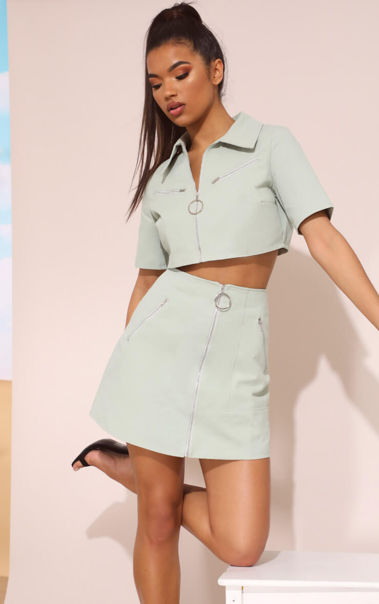 MINT ZIP DETAIL MINI SKIRT