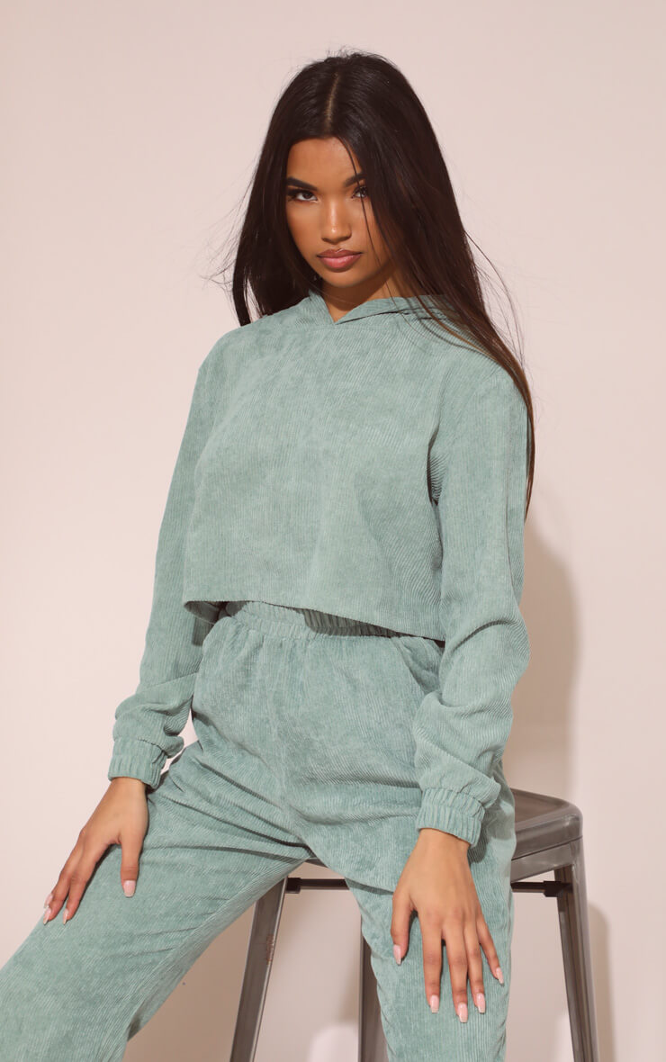 MINT CORD CROPPED HOODIE
