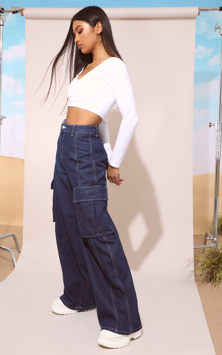 MID WASH HIGH WAISTED WIDE LEG JEANS