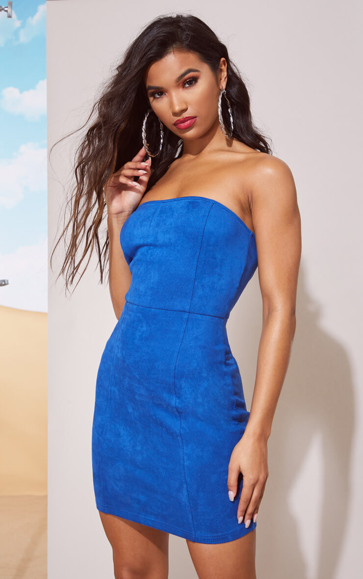 COBALT FAUX SUEDE BANDEAU BODYCON DRESS