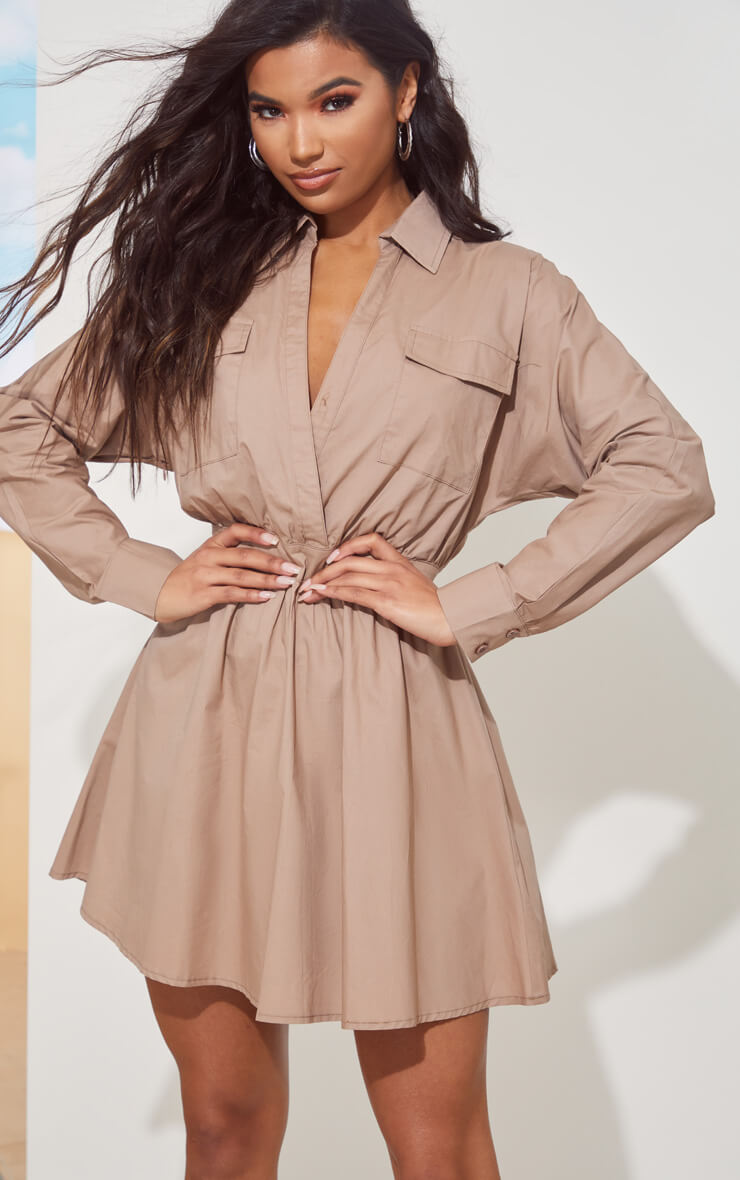 TAUPE UTILITY PLUNGE SKATER DRESS