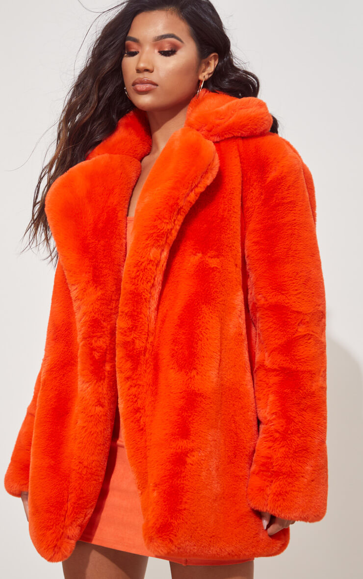 ORANGE FAUX FUR OVERSIZED COLLAR COAT