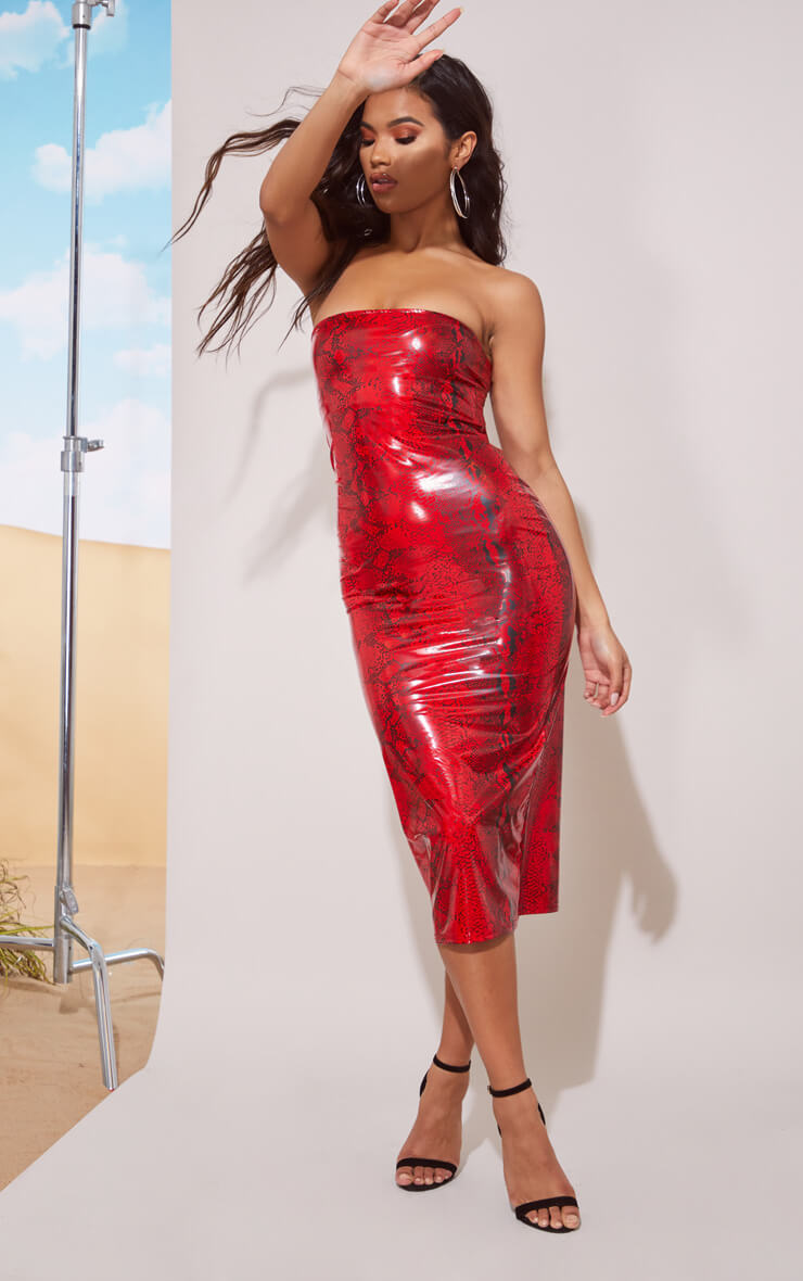 RED SNAKE VINYL BANDEAU MIDI DRESS