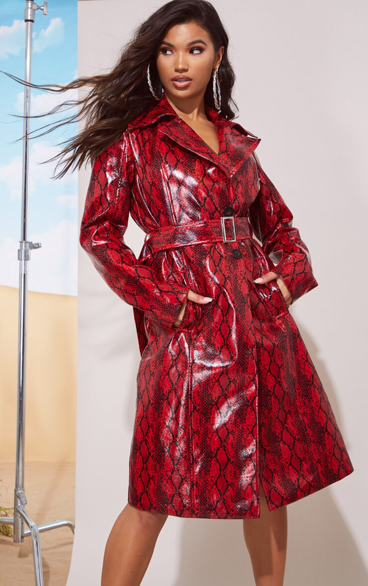 RED SNAKE VINYL TRENCH COAT
