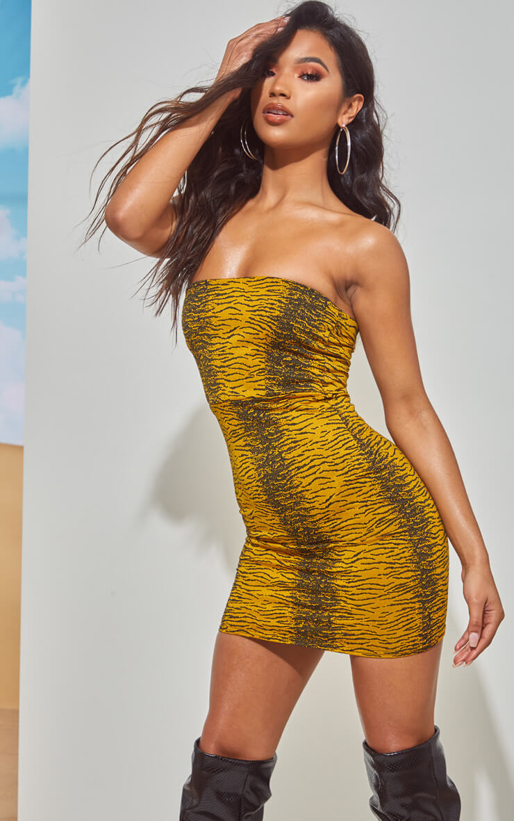 TIGER BANDEAU BODYCON DRESS