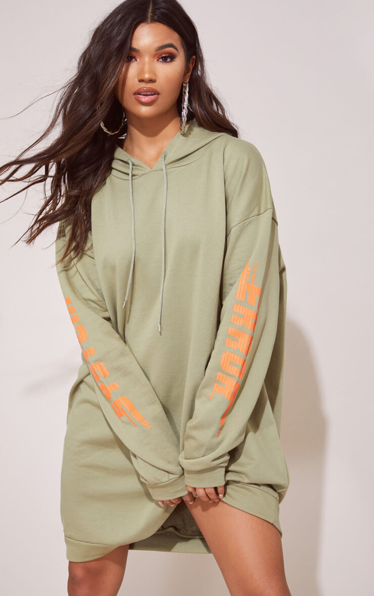 KHAKI OVERSIZED SLOGAN JUMPER DRESS