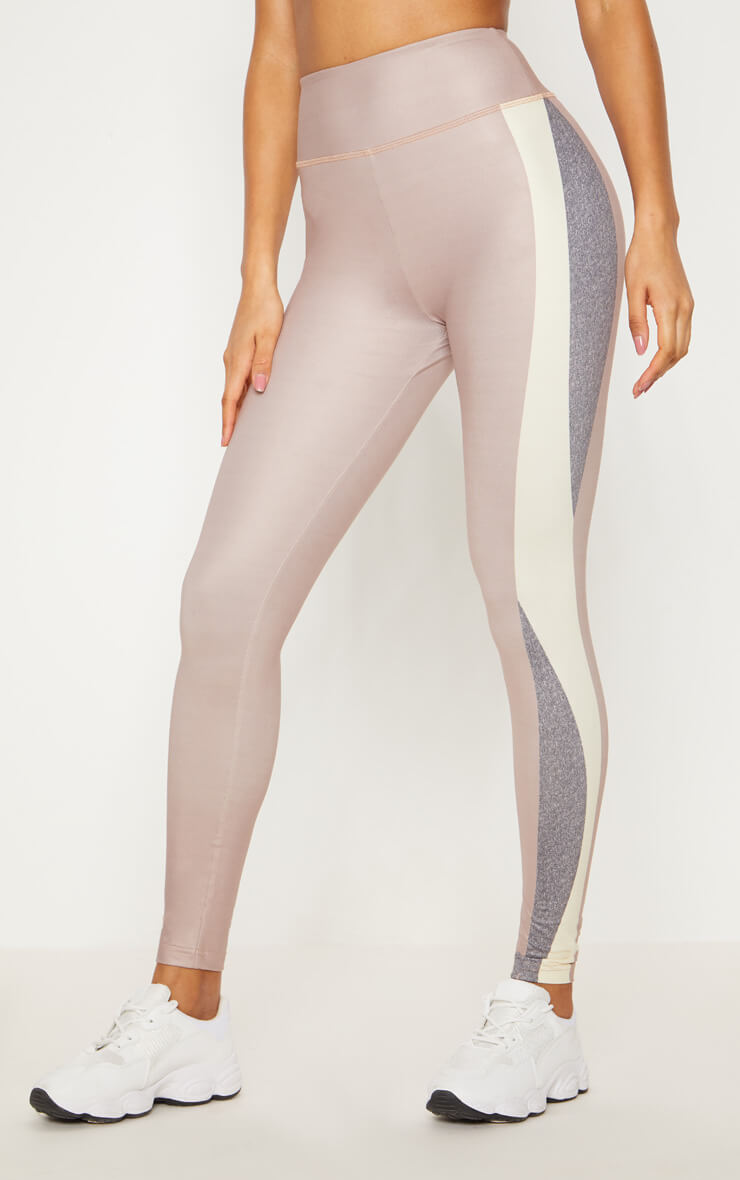 518a823c241d Taupe Contrast Panelled Sports Leggings