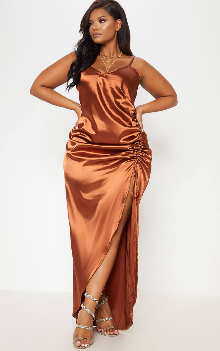 Copper Satin Strappy Ruched Split Leg Maxi Dress