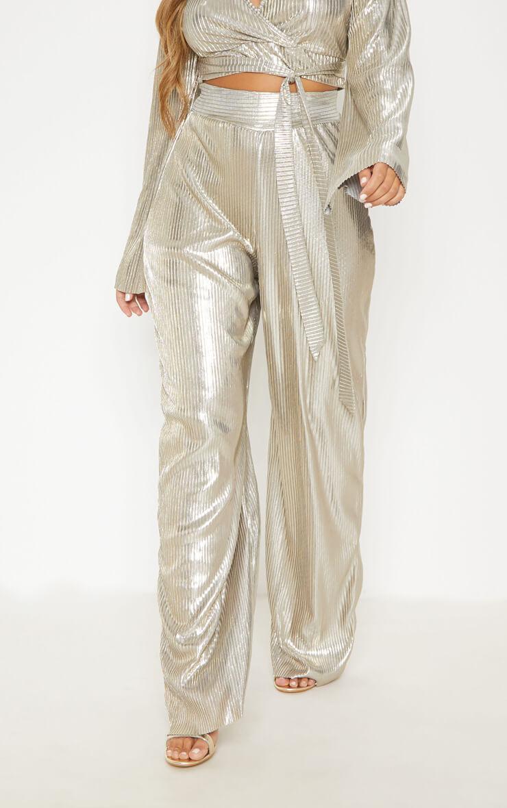 Pantalon métallisé plissé