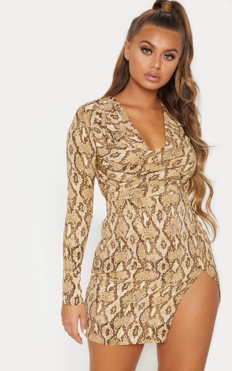 Beige Snake Print Cowl Neck Bodycon Dress