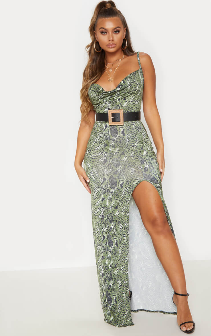 Green Snake Print Extreme Split Maxi Dress