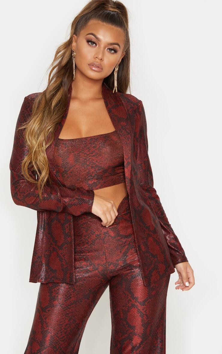 Maroon Metallic Snake Tie Waist Jacket