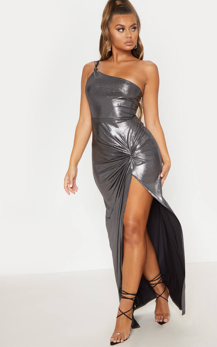 Black Metallic One Shoulder Knot Detail Maxi Dress