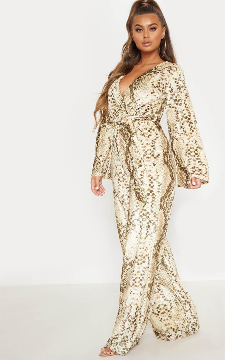 Beige Snake Print Velvet Tie Waist Jumpsuit