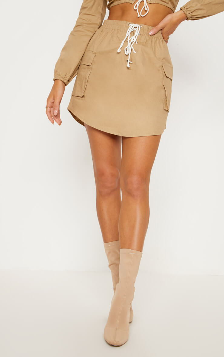 Lace Front Cargo Mini Skirt