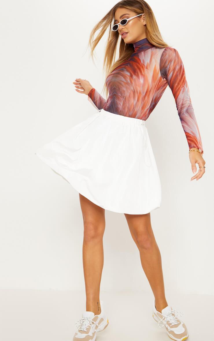 White Shell Toggle Side Detail Mini Skirt