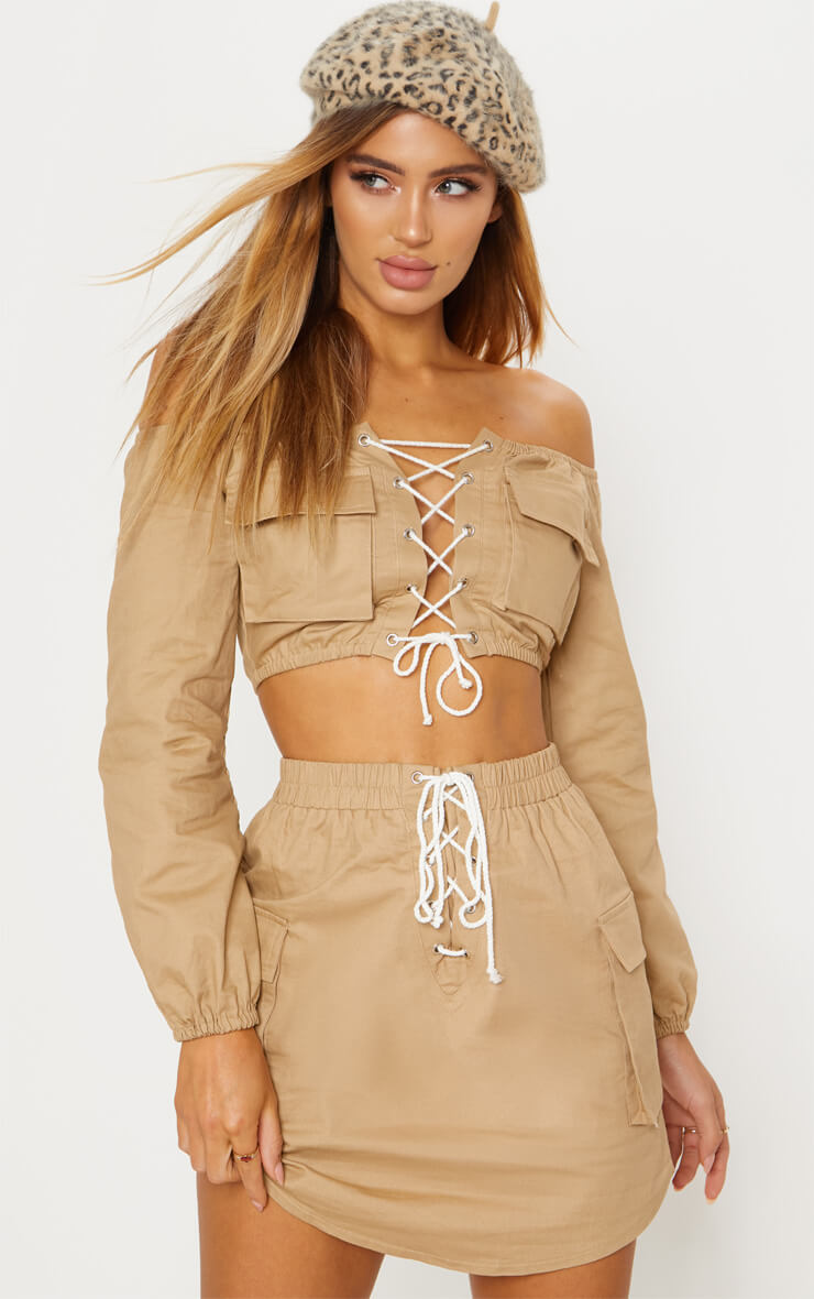 Cargo Lace up Crop Top