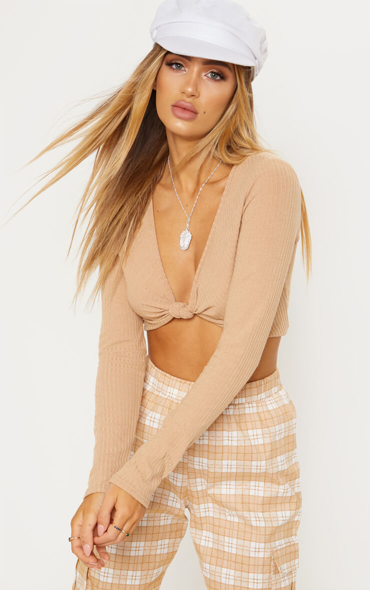 Camel Rib Knot Front Long Sleeve Crop Top