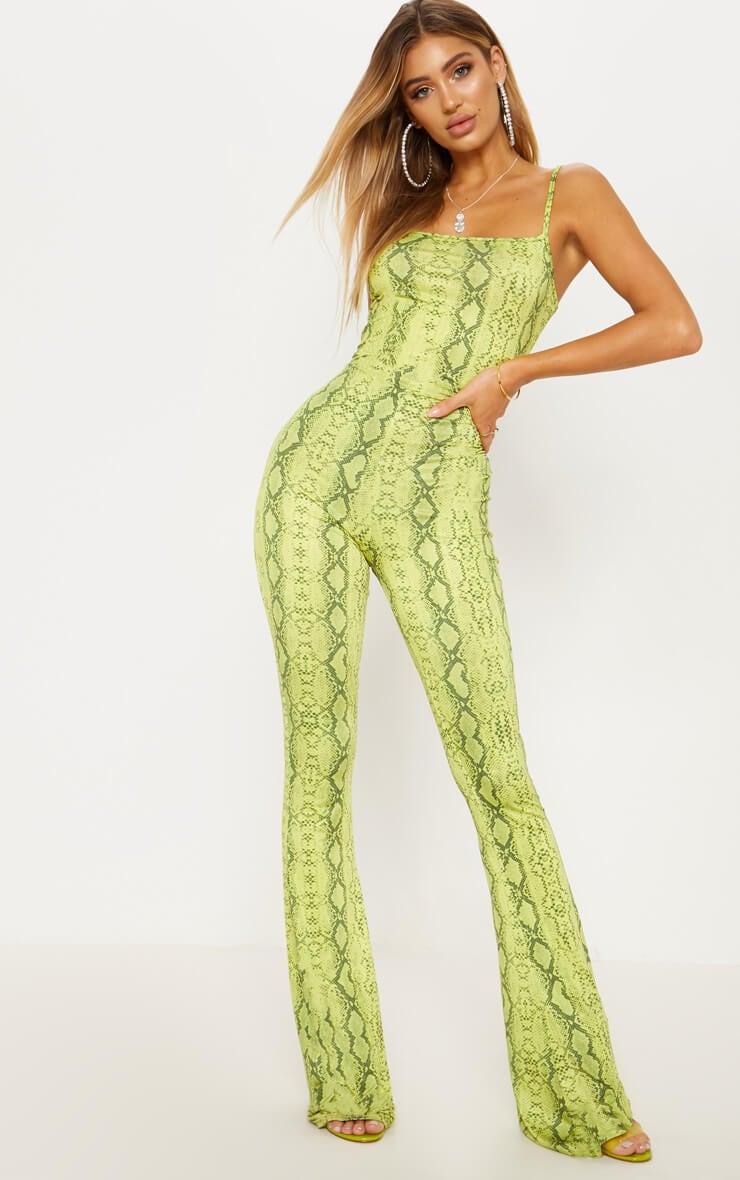 Lime Snake Straight Neck Jumpsuit