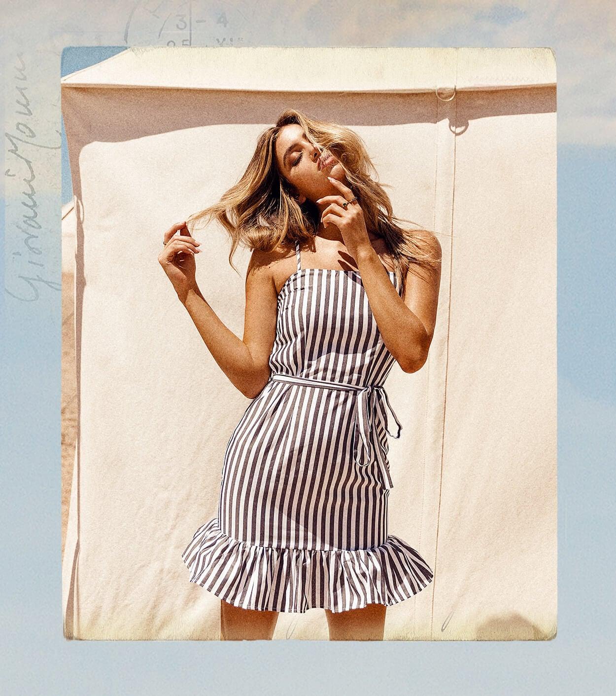 Black Stripe Print Frill Hem Strappy Bodycon Dress