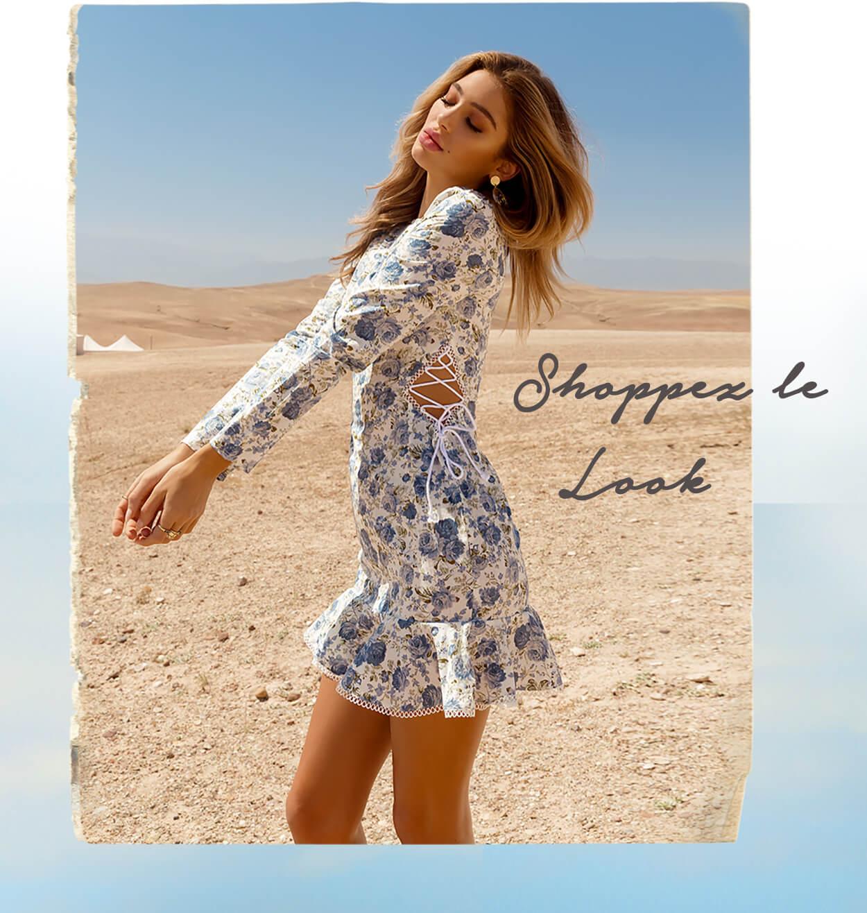 Blue Floral Lace Up Side Frill Hem Bodycon Dress