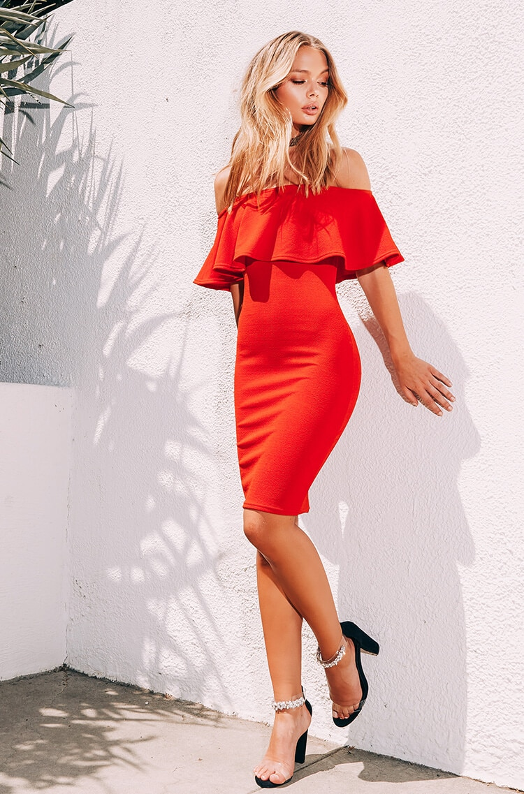 Red frill bardot midi dress , Black jewelled strap heels
