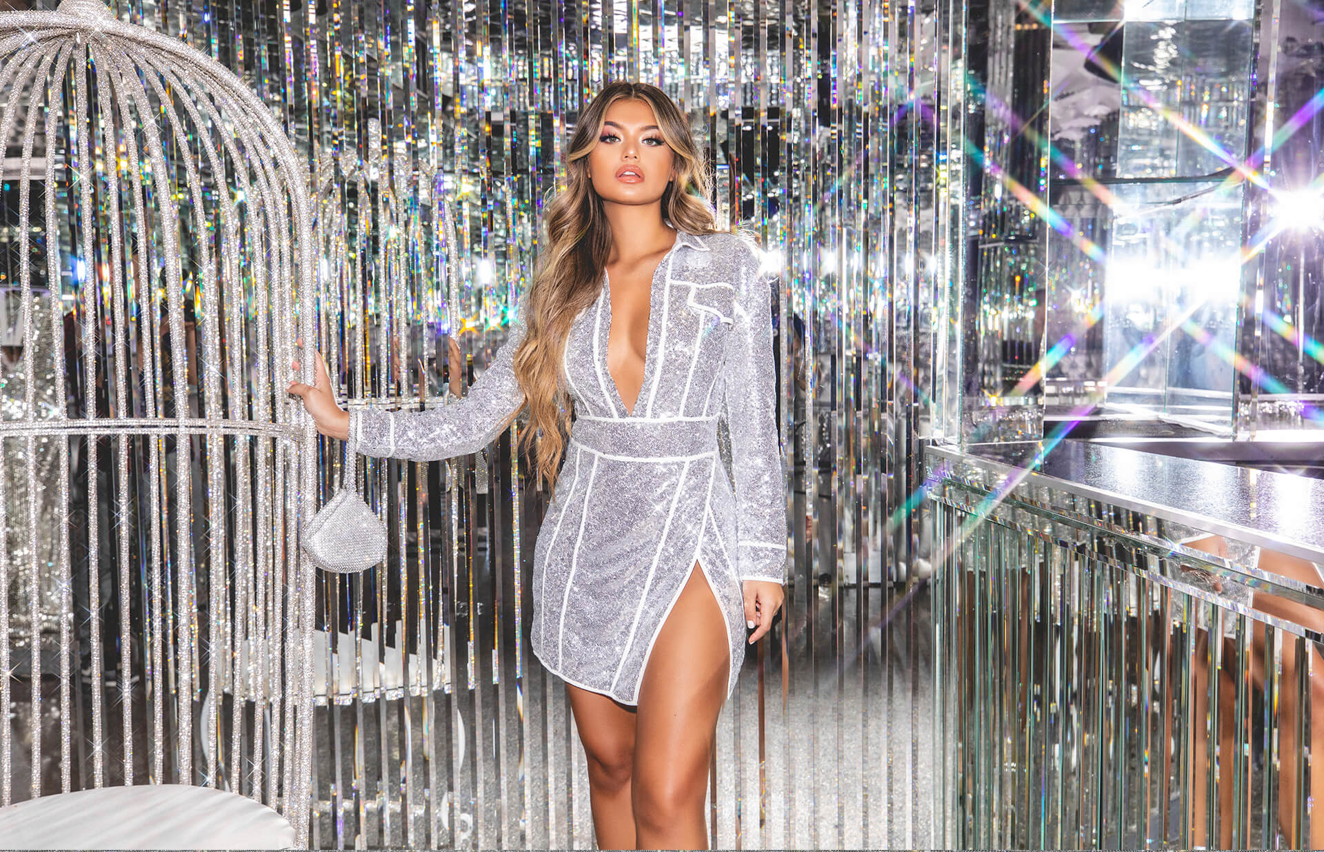 hailey baldwin campaign shoot silver sequin piped bodycon dress desktop