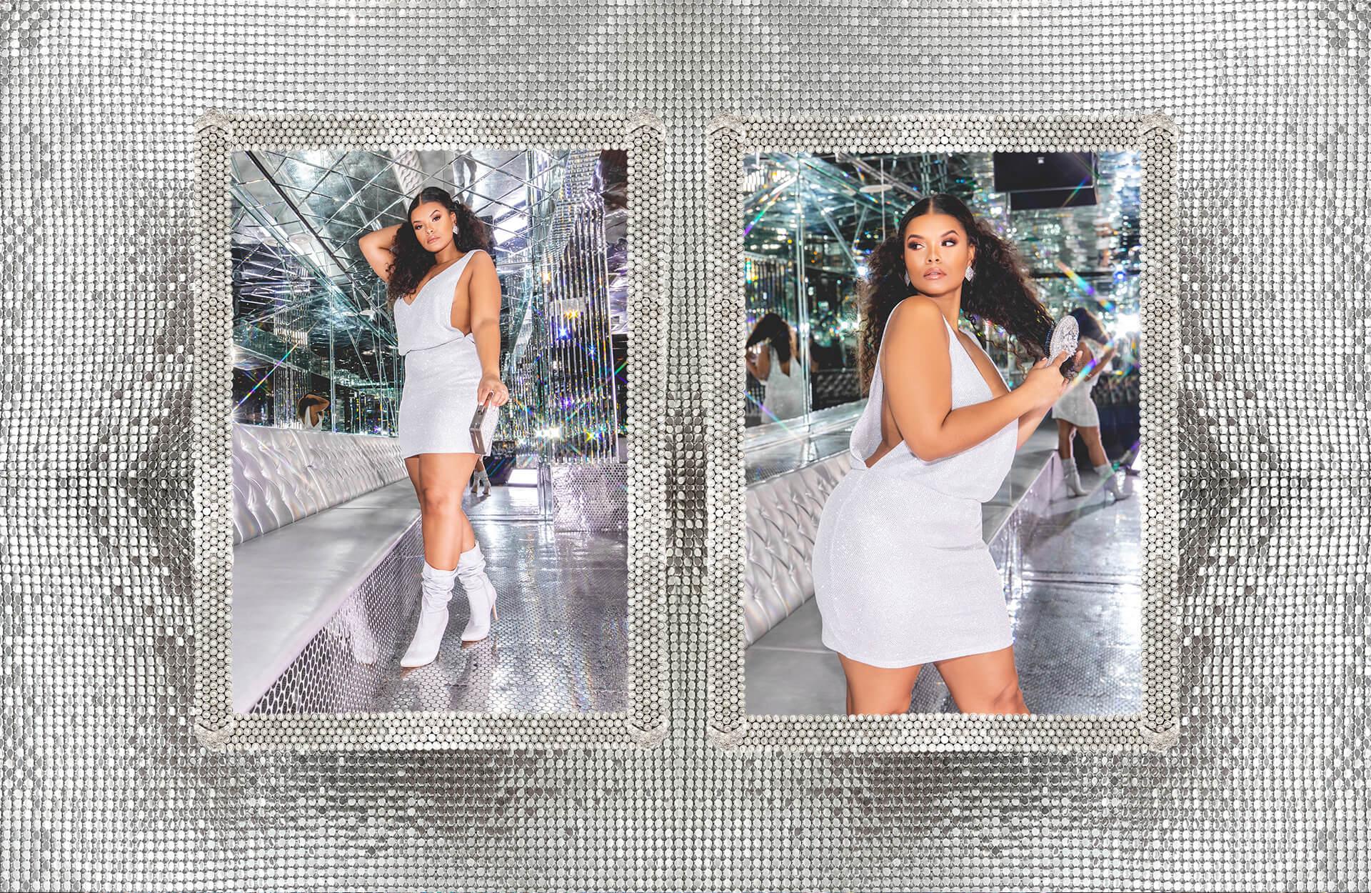 hailey baldwin campaign shoot silver sequin plunge bodycon dress desktop