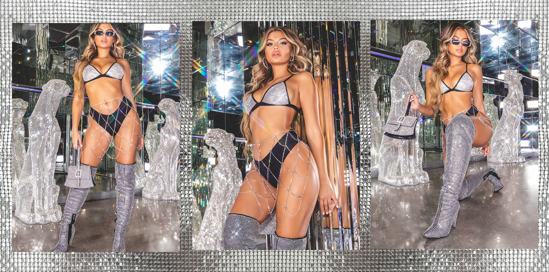 hailey baldwin campaign shoot silver sequin diamante bra and mini skirt desktop