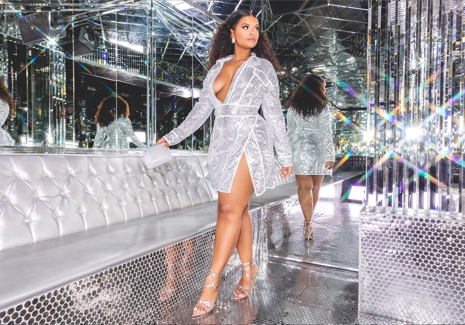 3fdad5d9 hailey baldwin campaign shoot silver sequin cowl neck bodycon dress desktop  ...