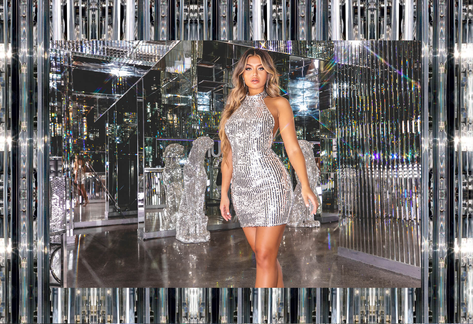 hailey baldwin campaign shoot silver sequin high neck bodycon dress desktop