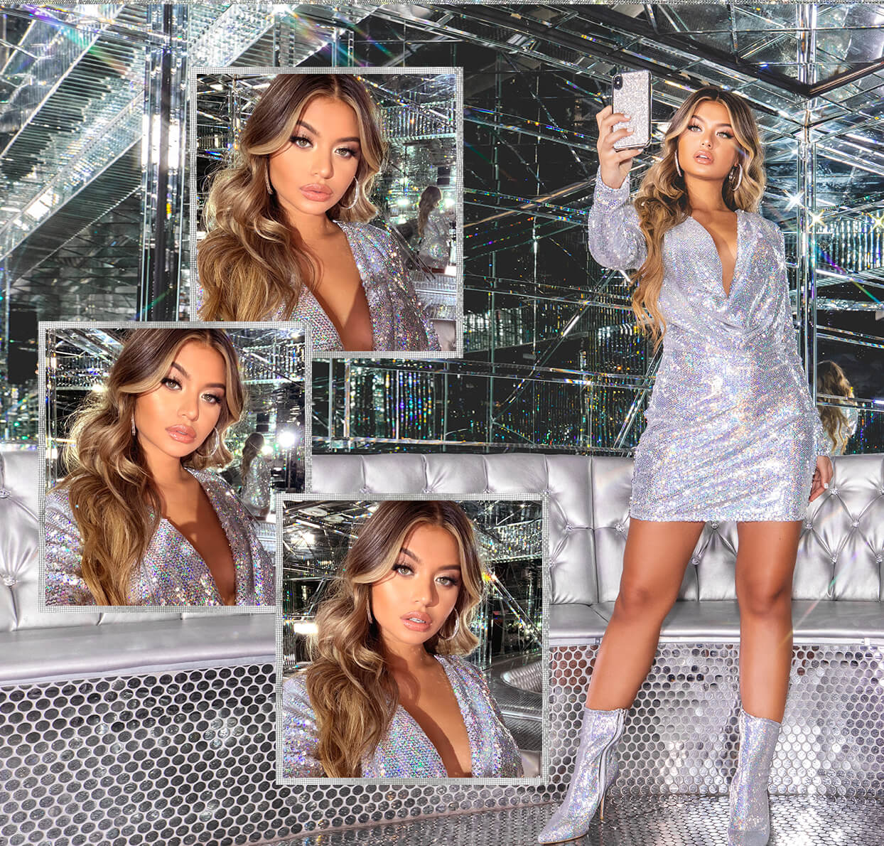 hailey baldwin campaign shoot silver sequin cowl neck bodycon mobile
