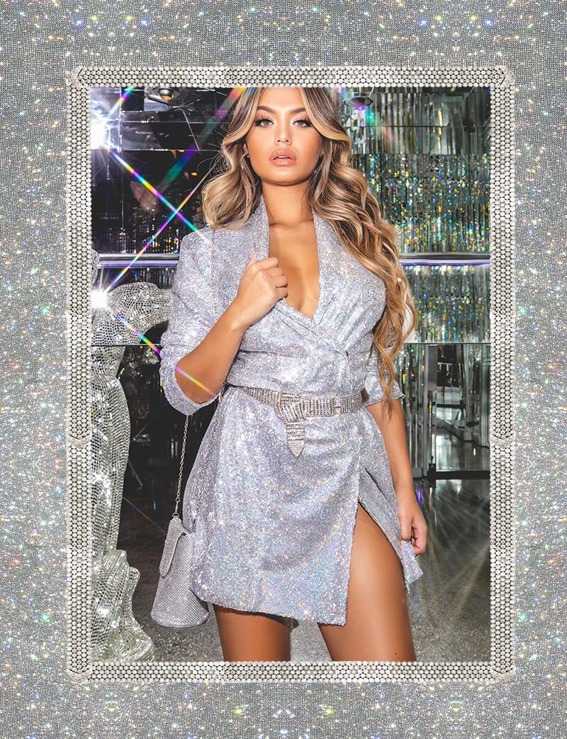 hailey baldwin campaign shoot silver sequin oversized blazer mobile