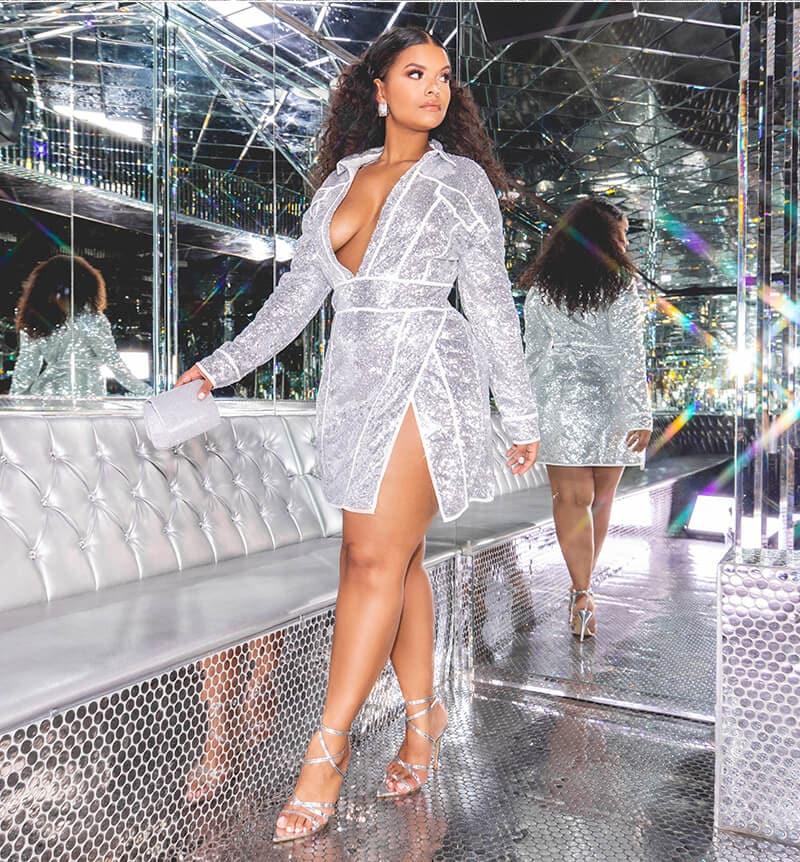 hailey baldwin campaign shoot silver sequin cowl neck bodycon dress mobile