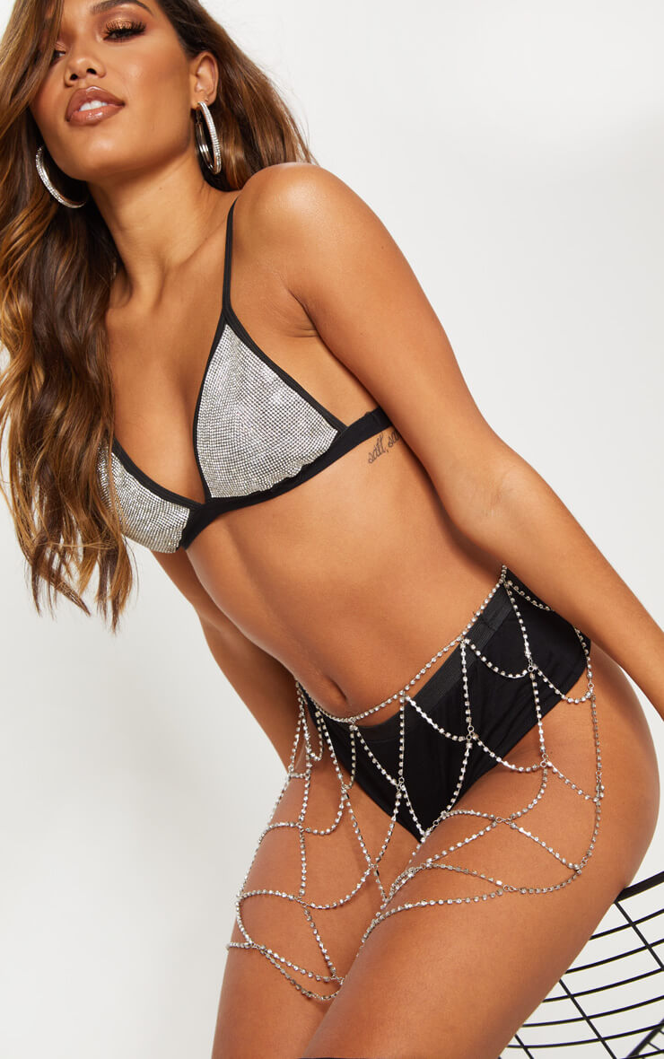 Black Diamante Triangle Bralet