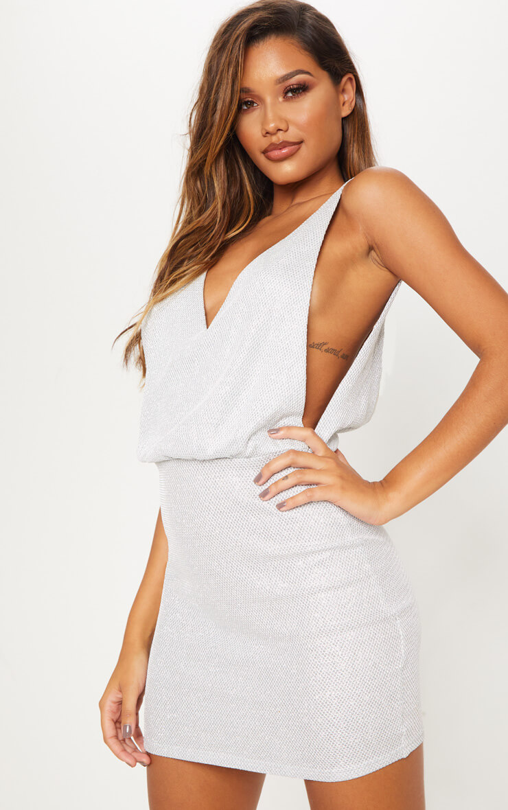 Silver Glitter Mesh Plunge Back Bodycon Dress